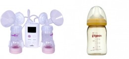 Combo Máy Hút Sữa Điện Đôi Hàn Quốc Và Bình Sữa Pigeon 240ml