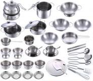 Bộ Đồ Chơi Nấu Ăn 40 Món Inox Cho Trẻ