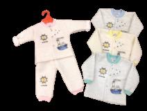 Bộ nỉ bông xốp ghi lê cho bé từ 0 đến 15 tháng