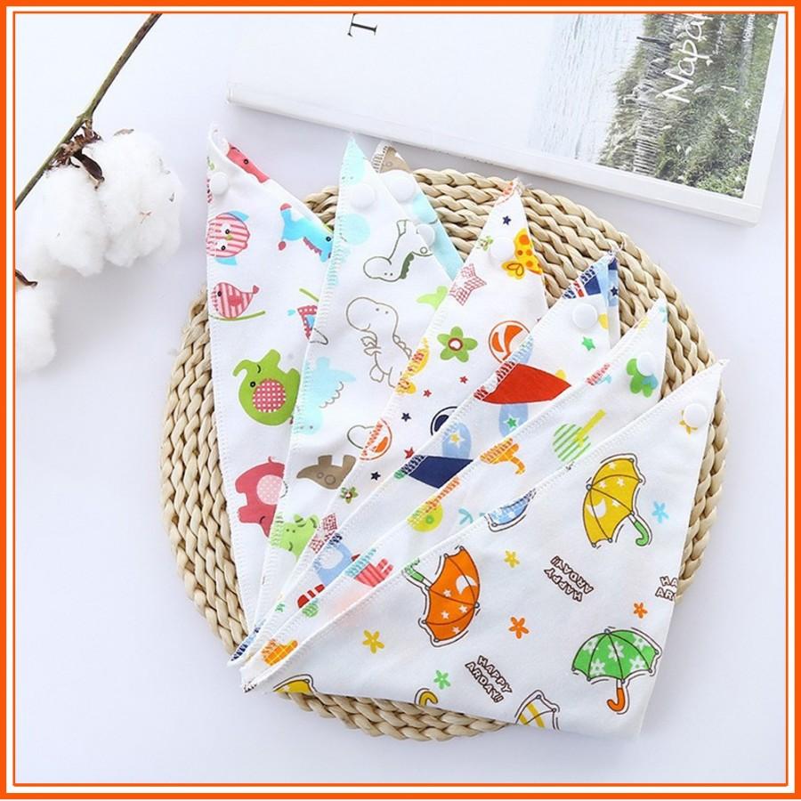 Set 5 Khăn Yếm Tam Giác 100% Cotton Có Cúc Bấm Cho Bé