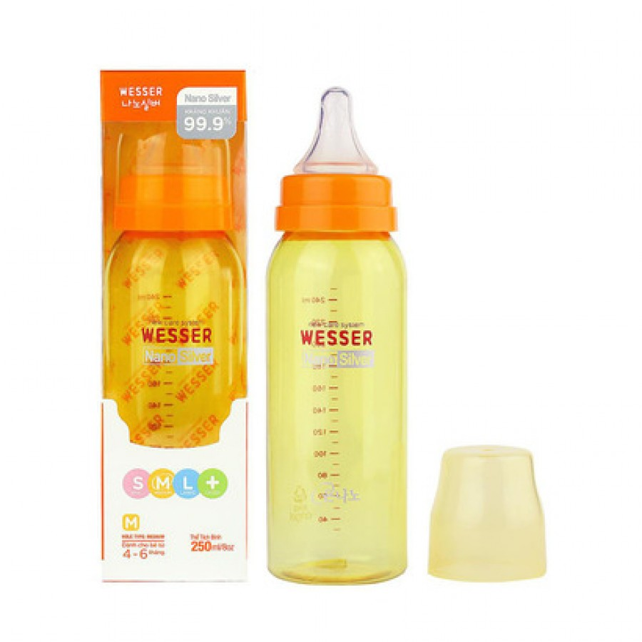 Bình Sữa Wesser Nano Silver Cổ Nhỏ Nhiều Size