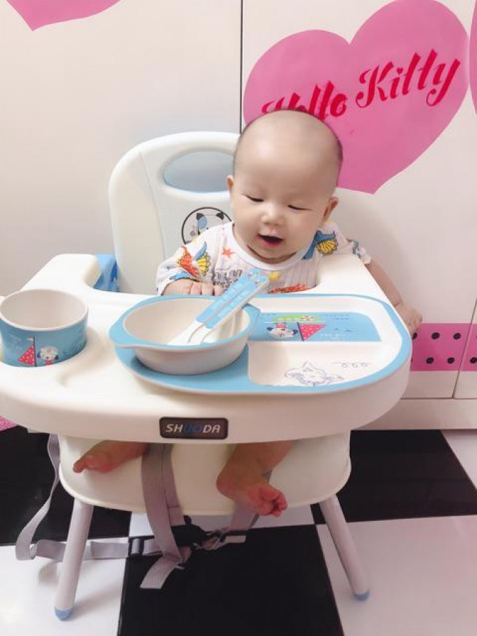 Ghế Ăn Dặm Gấp Gọn Kèm Chân Sắt Shuoda Cho Bé