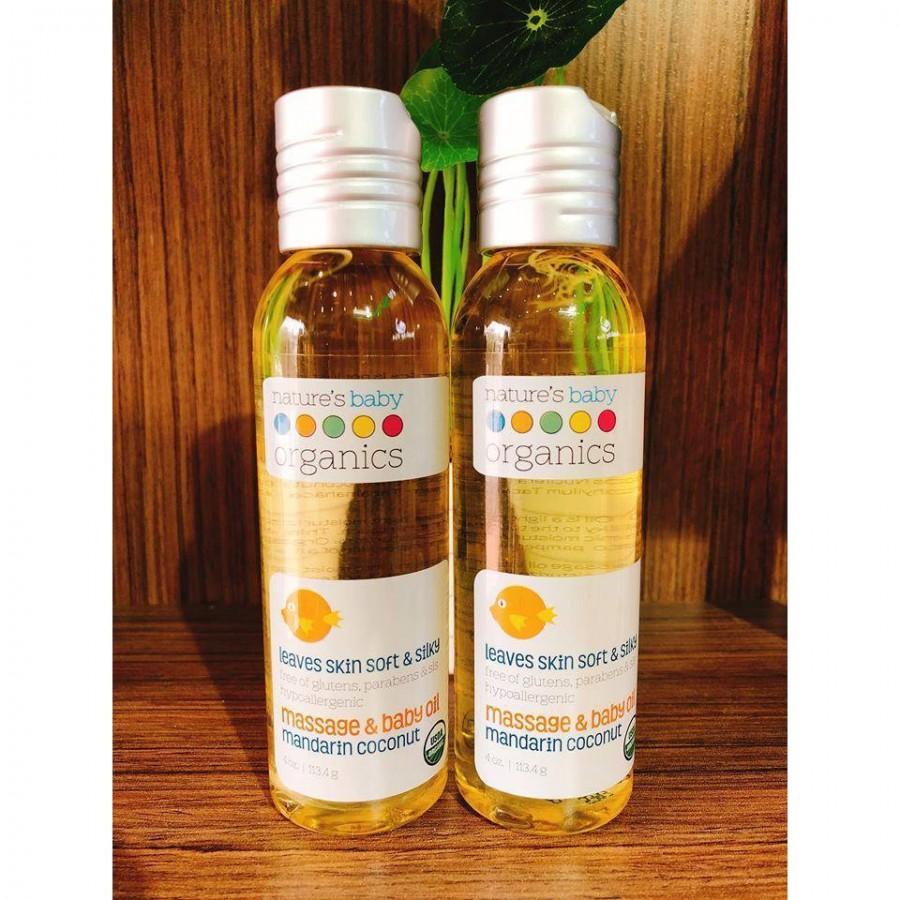 Dầu Massage Dưỡng Ẩm Hữu Cơ Nature's Baby Organics 113.4g Cho Bé