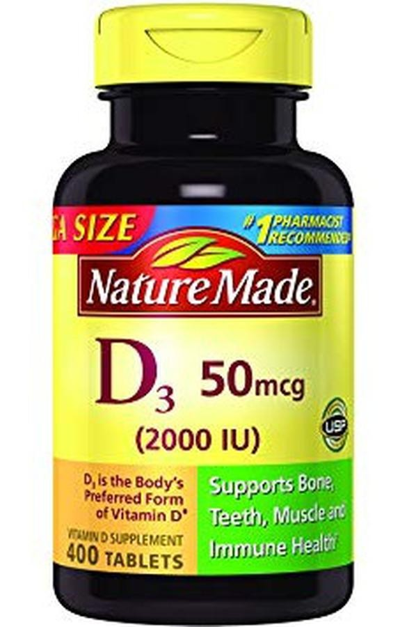 Viên Uống Vitamin D3 Nature Made 50 Mcg 2000 IU
