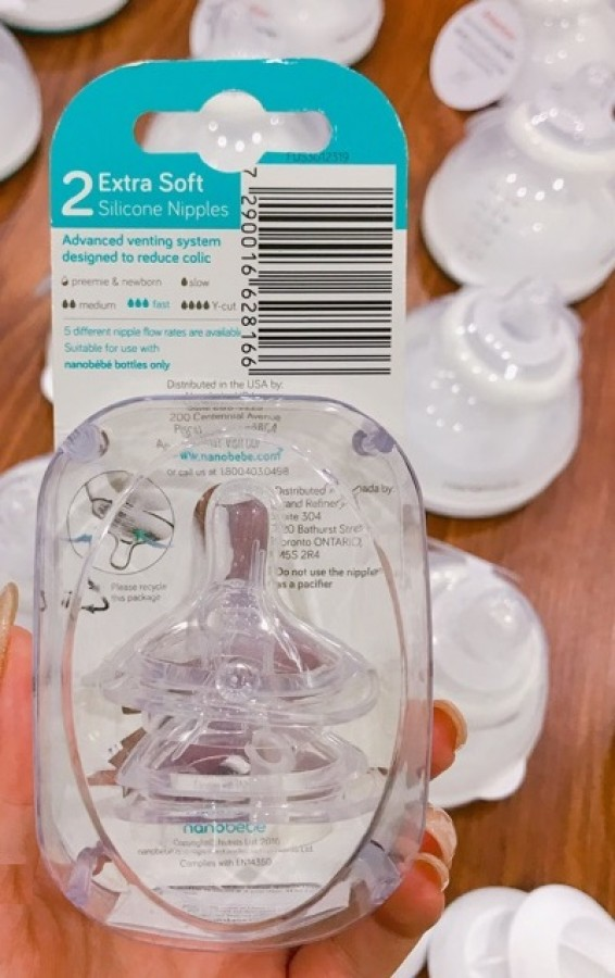 Núm Ti Bình Sữa Nanobebe 6m+ (tách Set)