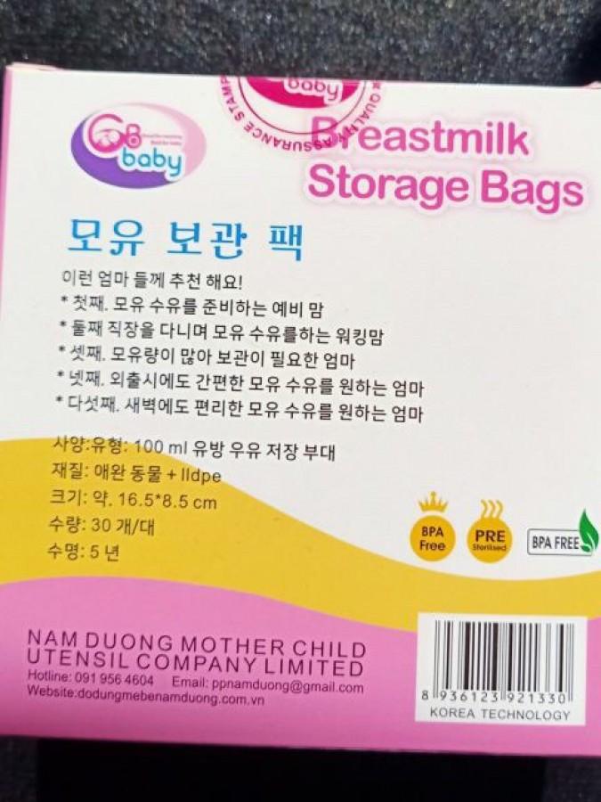 Túi Trữ Sữa GB-Baby Hàn Quốc 100ml (hộp 30)