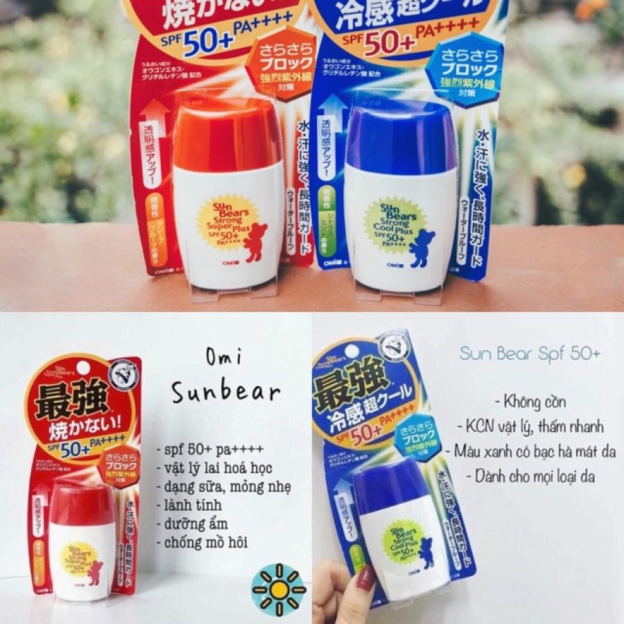 Kem Chống Nắng Sun Bears Omi Không Cồn SPF50+ Của Nhật