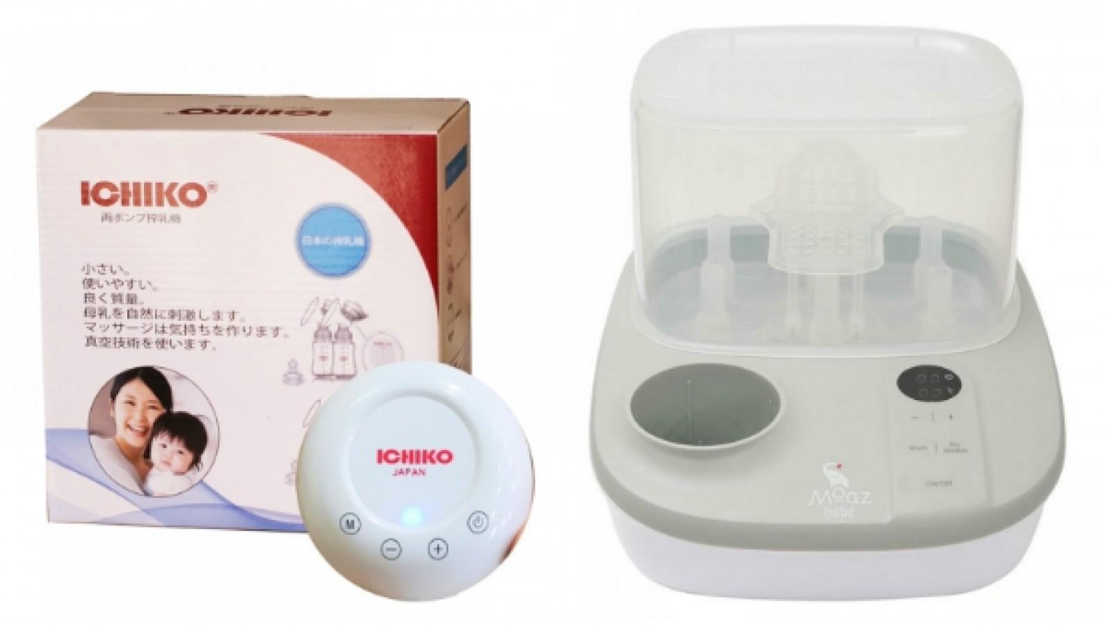 Combo Máy Hút Sữa Điện Đôi Nhật Bản Và Máy Tiệt Trùng Hâm Sữa Moaz Bebe